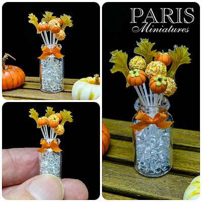 Collage of miniature cake pops in a glass jar