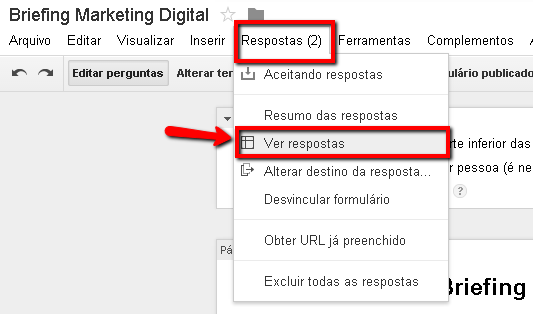 Ver respostas do formulário publicado no Google Docs