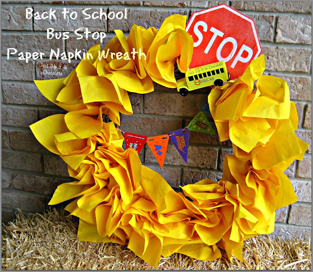 Back to School Bus Stop Paper Napkin Wreath, get your little ones excited about that first bus ride of the year with their own wreath, for only $3.00 I'm sure you already have most of the things you need to bring happiness to your kids face!