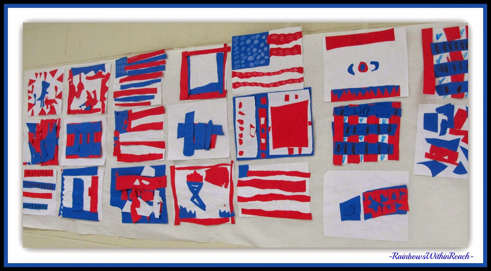 "Patriotic Flag Art in Kindergarten in Response to ""Red, White and Blue"" by Debbie Clement"