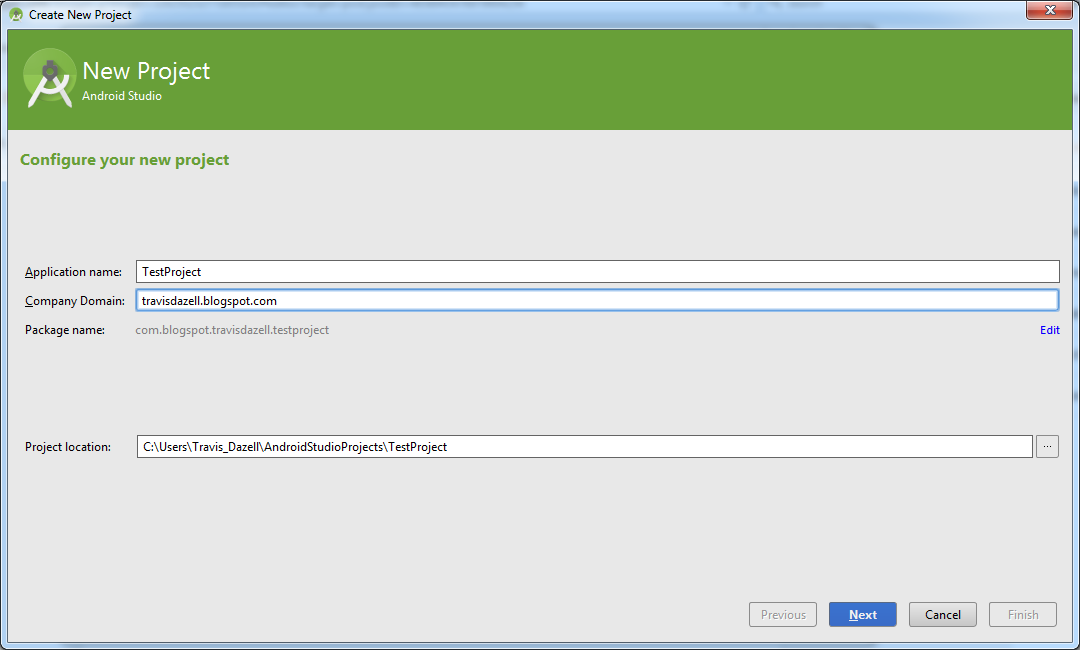 Android Studio New Project Dialog