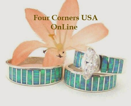 Blue Fire Opal Native American Wedding Rings Bands Bridal Engagement Sets