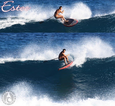 Paddle Surf Hawaii - Estee Okumura - Top Turn on a Paddle Surf Hawaii Wood Veneer Ripper