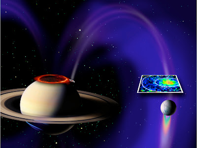 CONNEXION ÉLECTRIQUE ENTRE SATURNE ET SA LUNE ENCELADE  Enceladus+violet