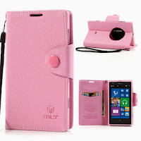 Leather Case Wallet Stand with Credit Card Slot for Nokia Lumia 1020 - Baby Pink