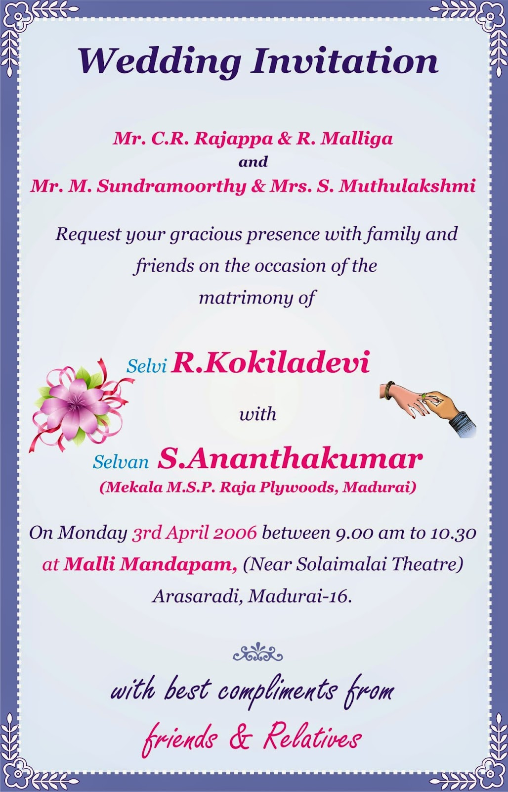 Ramani achagam invitation models invitation models stopboris Gallery