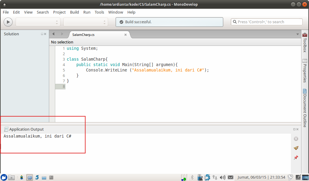 membuat kode C# baru di monodevelop