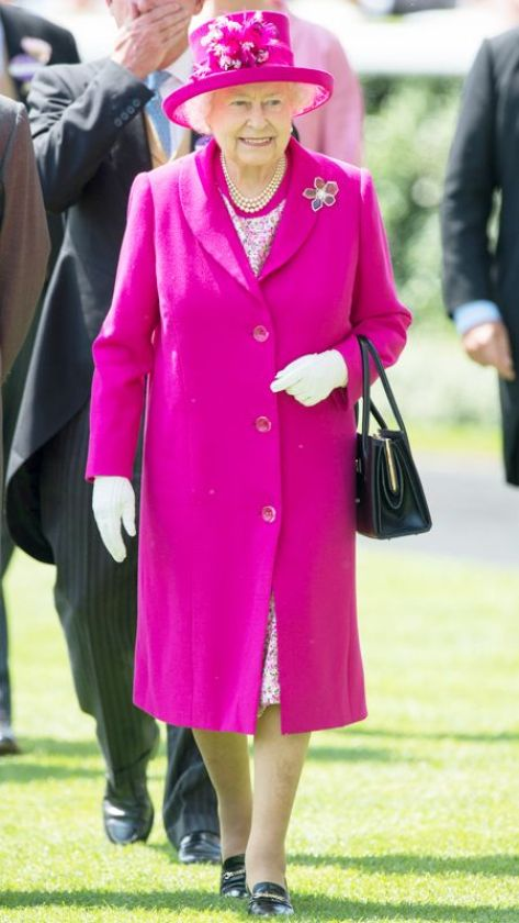 Queen Elizabeth in a fuchsia outfit on day four or Royal Ascot 2014