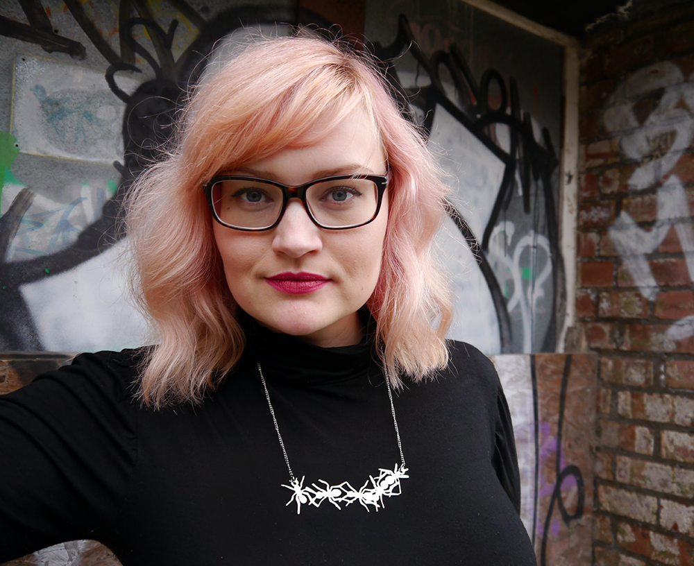 lady muck of whitstable, ant jewellery, laser cut jewellery, grafitti, Dundee photoshoot, peach hair DIY, polo neck, Scottish winter look, boho waves hair