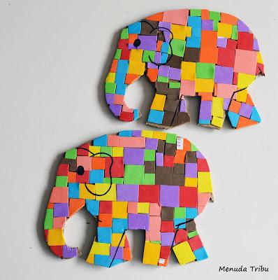 Crea tu elefante Elmer. Menuda tribu