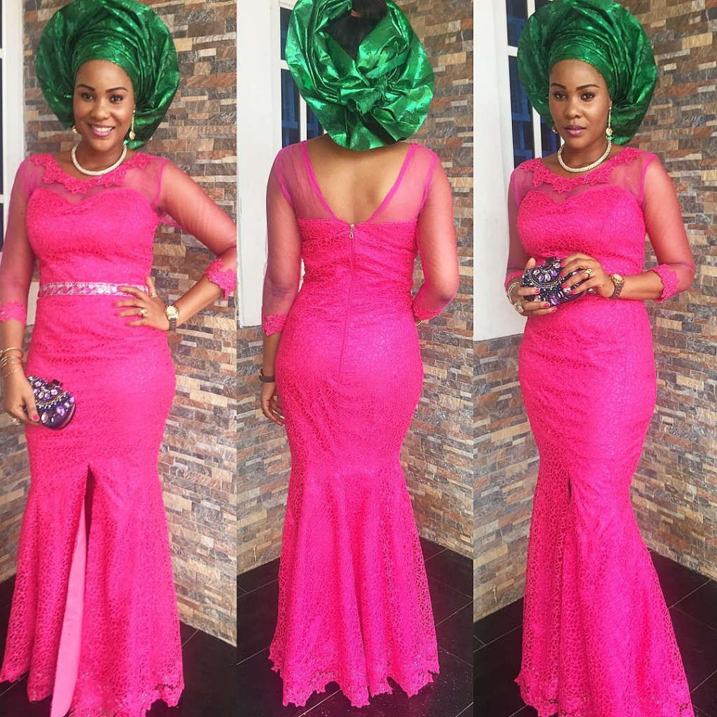 twinglestyle: Beautiful Lace Long Gown Style With Green Head Tie
