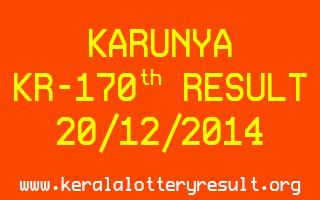 KARUNYA Lottery KR-170 Result 20-12-2014