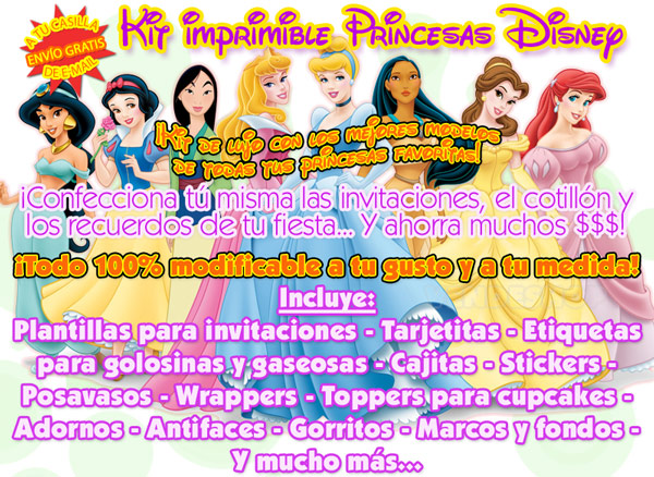 Kit Imprimible Princesas Disney   Env  O R  Pido A Tu Casilla De E