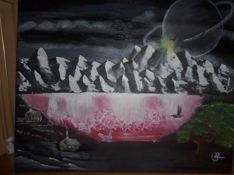 quadro em acrílico montanha e cascatas
