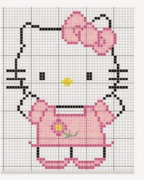 de patrones de punto de cruz de la famosisisisissima hello kitty