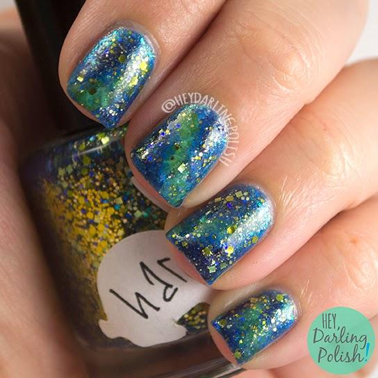 nails, nail art, nail polish, galaxy, galaxy nail art, hey darling polish, oh mon dieu part deux, hare polish golden years