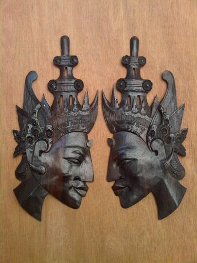 Ukiran kayu bentuk wajah bahan kayu trembesi ukuran untuk satu ukiran