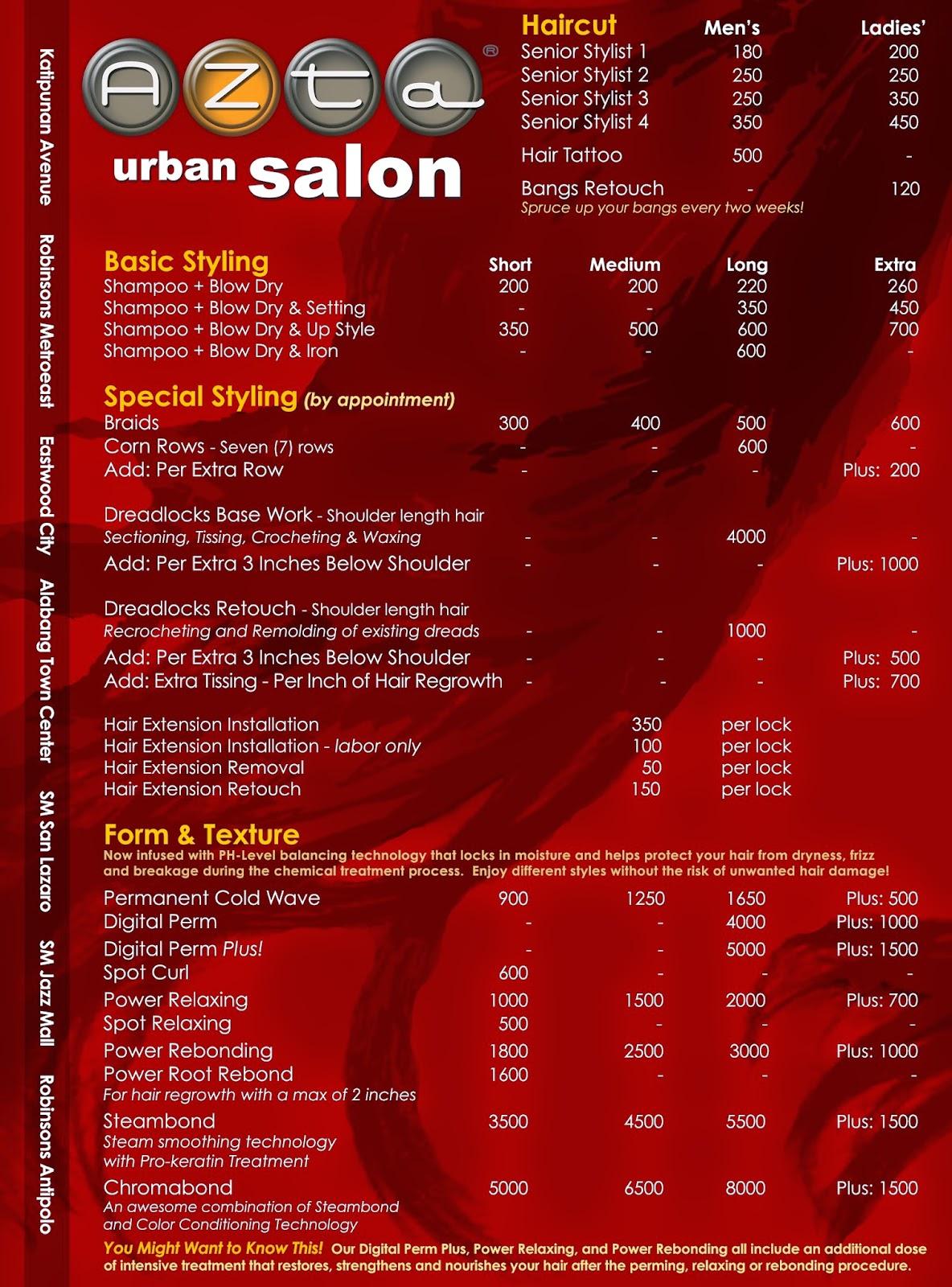 Salon hair color exclusively for salon professionals and for Academy for salon professionals price list