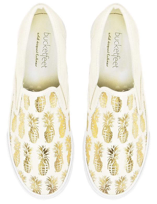 DJLU, bucketfeet, gold pineapple, graphic design, slip on shoes