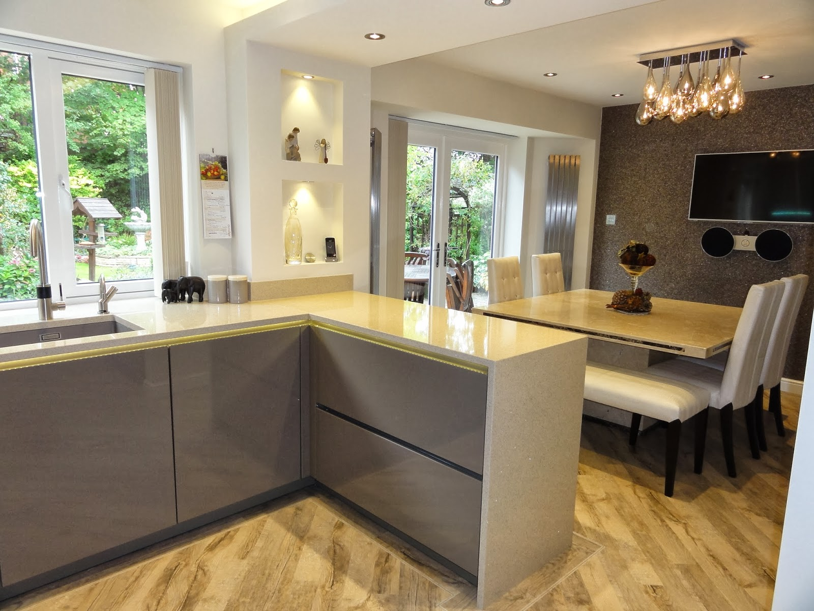 Kitchen in Beige Grey with feature splashback by Diane Berry Kitchens