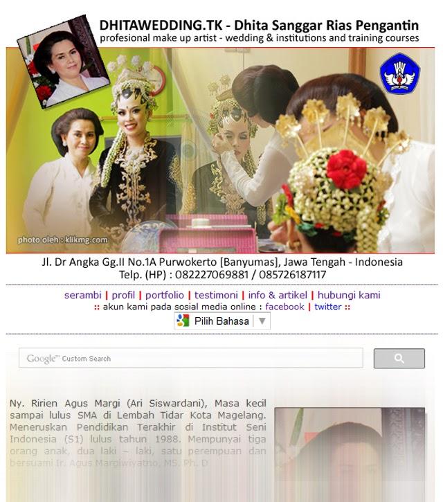 www.dhitawedding.tk - Situs Web Resmi Dhita Rias Pengantin & Kursus Rias Pengantin sedang dalam pengerjaan.