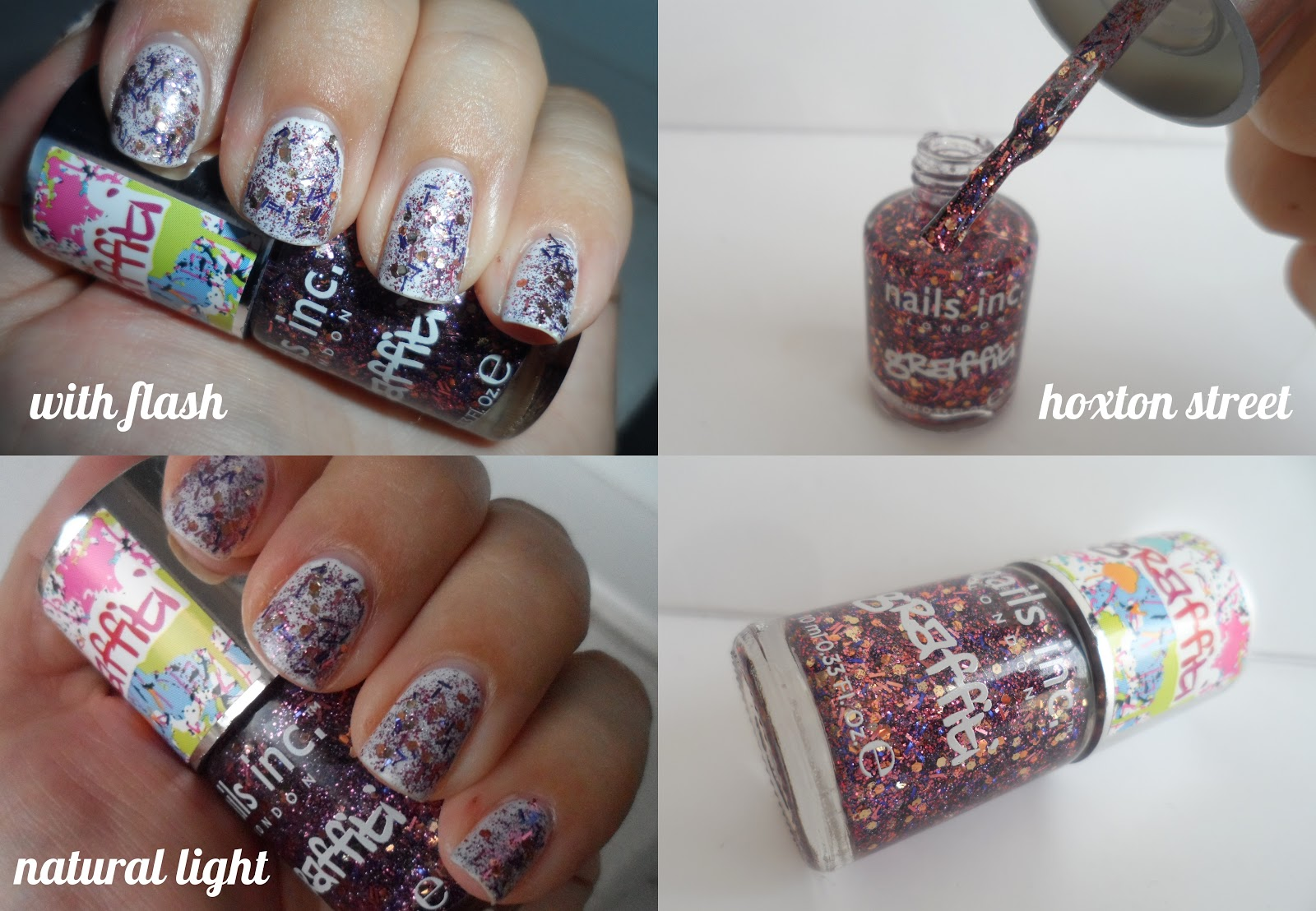 Nails Inc graffiti effect glitter nail polishes in camden lock and ...