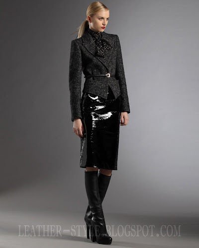 jacket, nappa leather boots, patent leather skirt, Gucci, collection, leather style