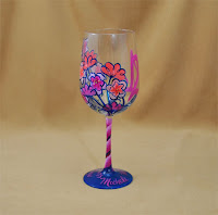 Lilly Pulitzer Inspired Hand Painted Wine Glass