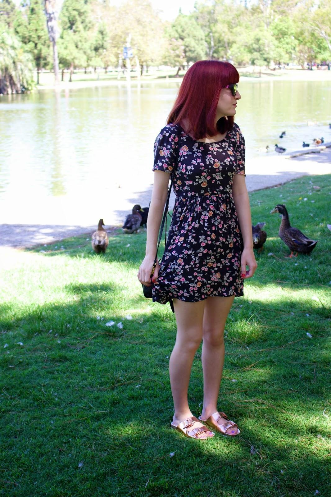 what i wore, billabong glass petals dress, westward leaning color revolution, topshop fancie sandals, birkenstocks, mcm cross body bag, back to school fashion,