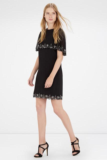 warehouse black cape dress, black scallop edge dress, scallop cape dress, embroidered cape dress,