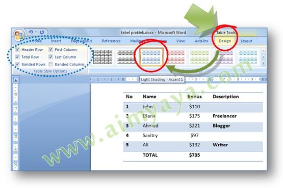 Gambar: Cara cepat mengatur format tampilan tabel di Microsoft Word