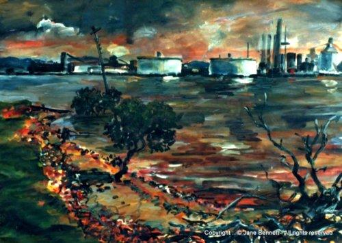 plein air acrylic painting of BHP steelworks Kooragang Island by industrial heritage artist Jane Bennett
