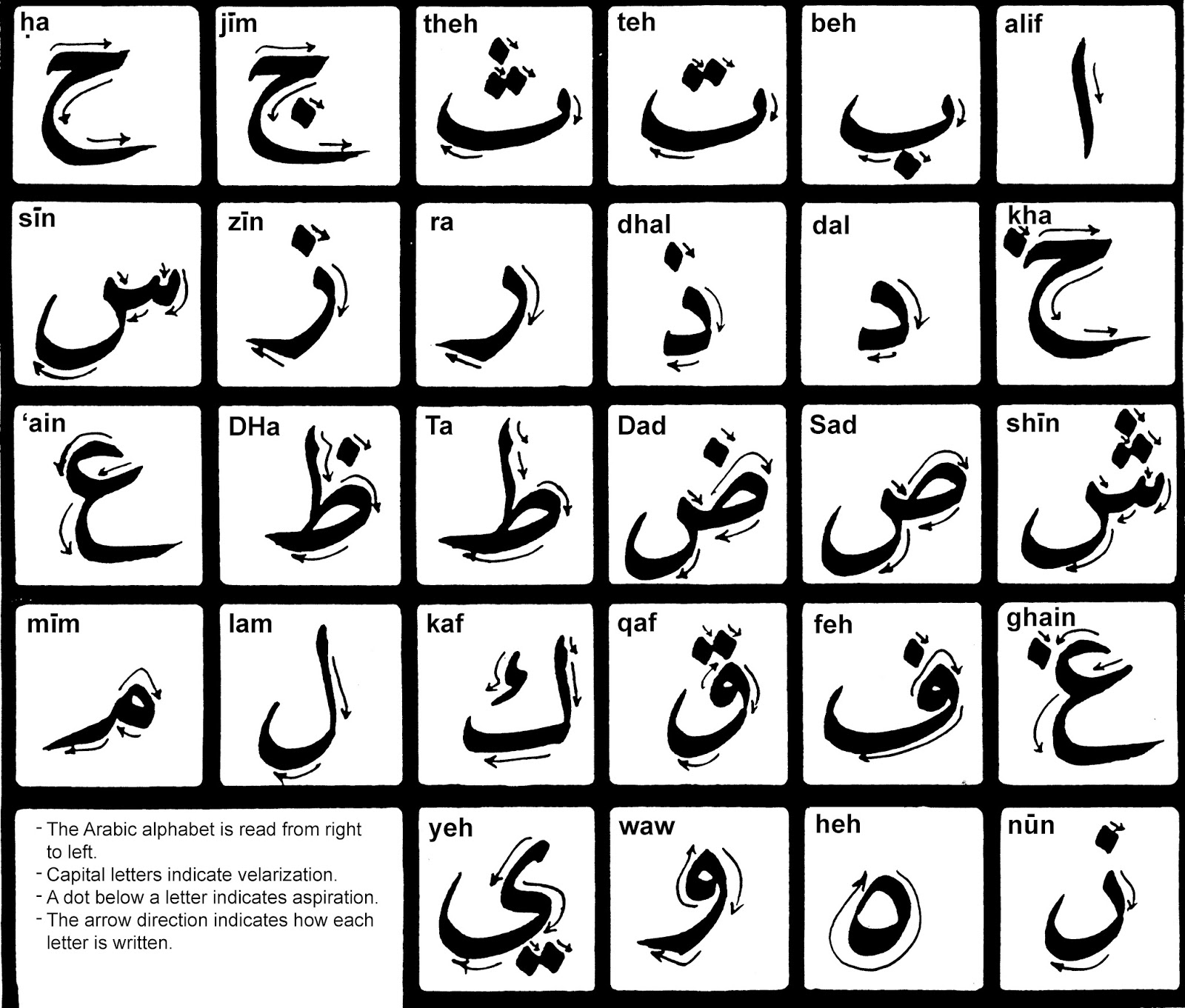 Arabic Alphabet Letters on arabic to english worksheets