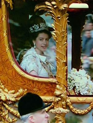 A rainha no dia da coroação.