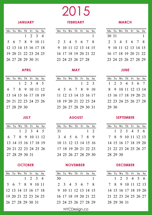 ... NY: 2015 Calendar Printable - A4 Paper Size - Red, Green, Blue, White