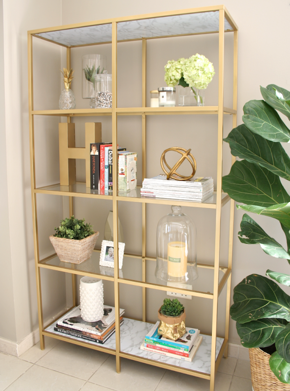 DIY IKEA Bookshelf Gold