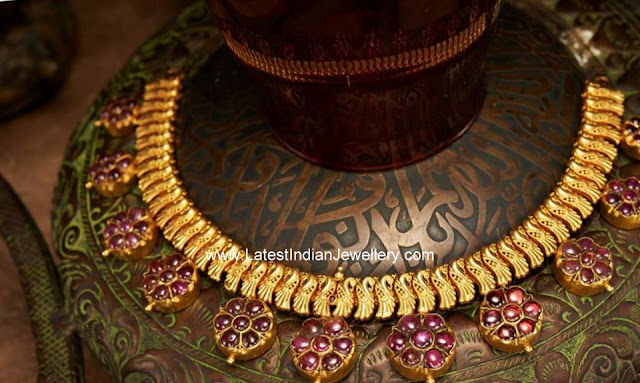 antique gold ruby necklace