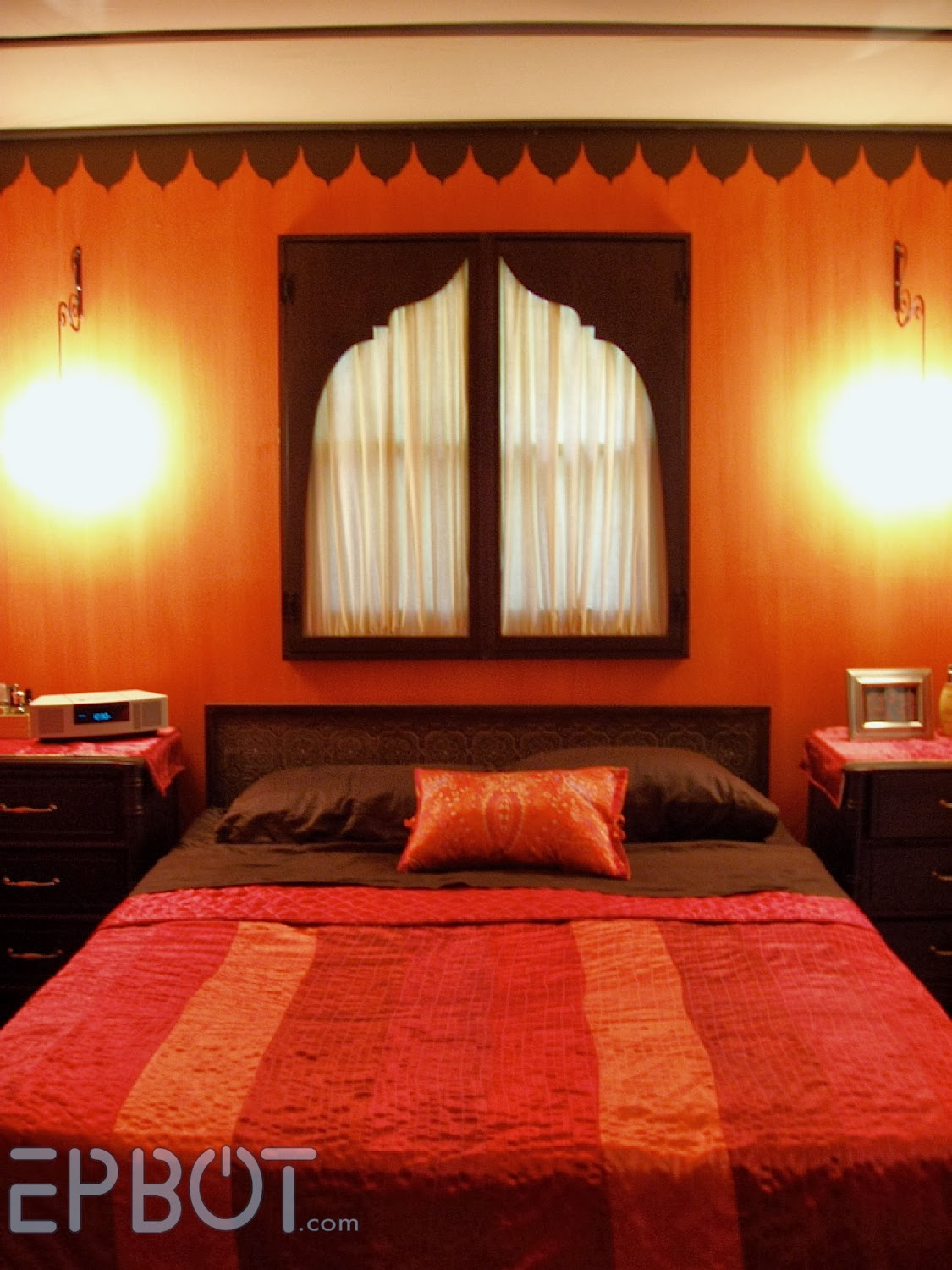 For The Last 8 Years Or So Our Bedroom Has Been A Dark Indian Inspired Tent Complete With An Actual Fabric Tented Ceiling Bright Orange Stri D Walls