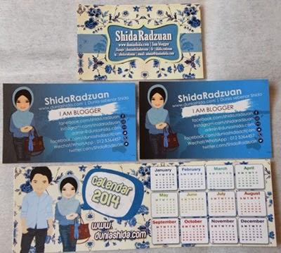 Hadiah tudung dari blogger Shida, bookmark, business card, dunia sebenar shida, shida radhuan