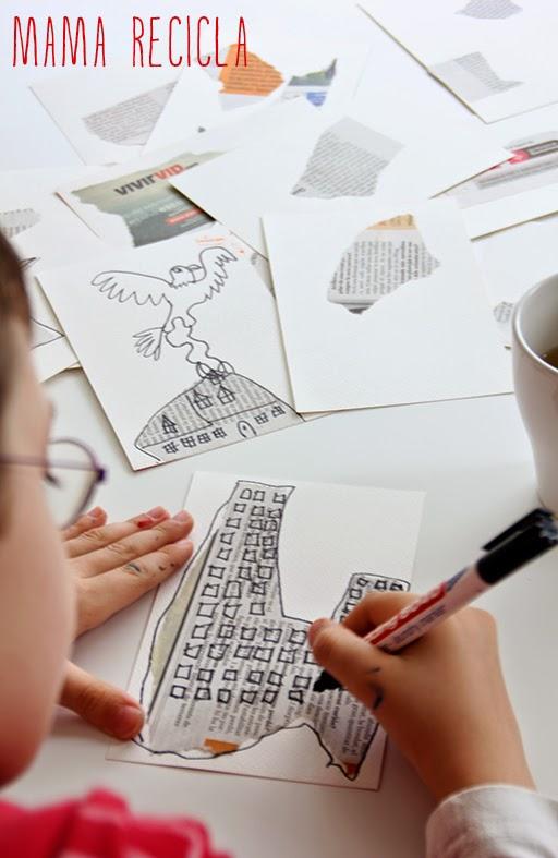 Desenho sobre colagem de jornal