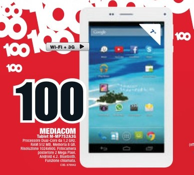 Mediacom Smartpad 7.0 S2 prezzo 100 euro Mediaworld