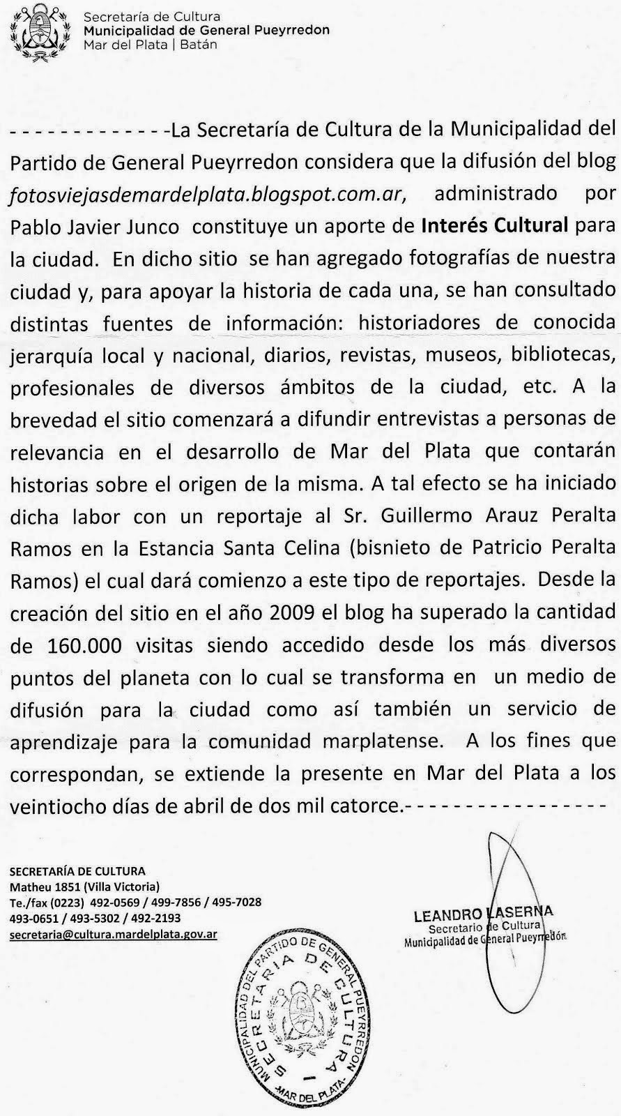 Sitio declarado de Interés Cultural por la Municipalidad de General Pueyrredón