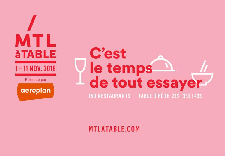 Montréal à Table 01.11 > 11.11.2018