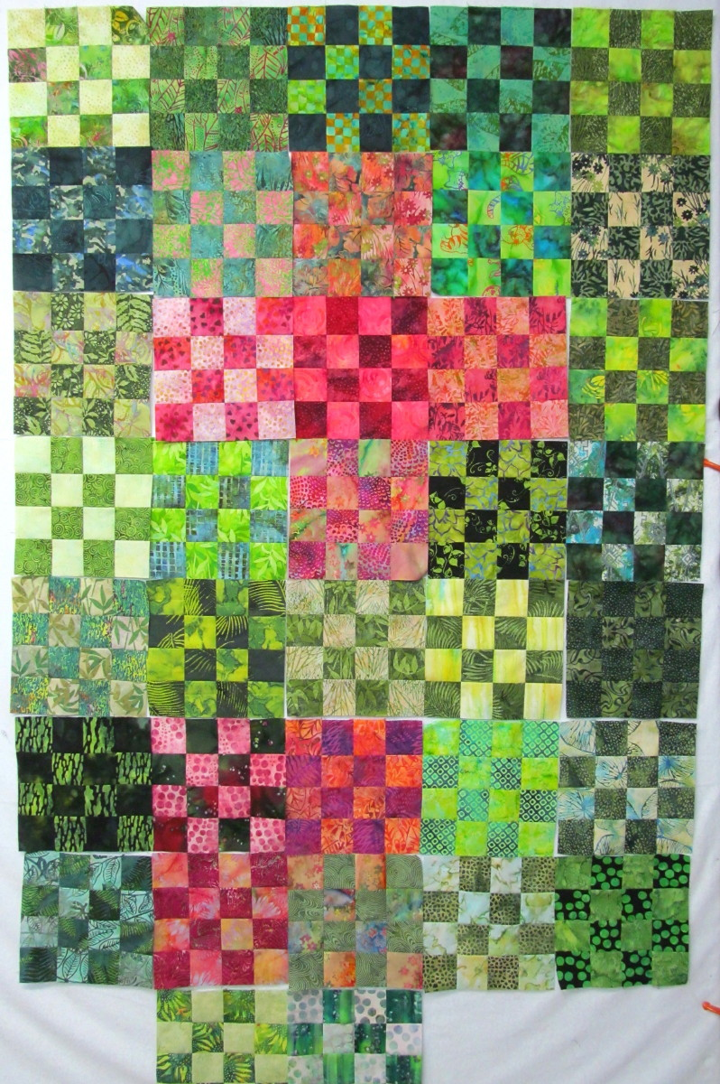 Exuberant color combination blocks - Combination of green and pink ...