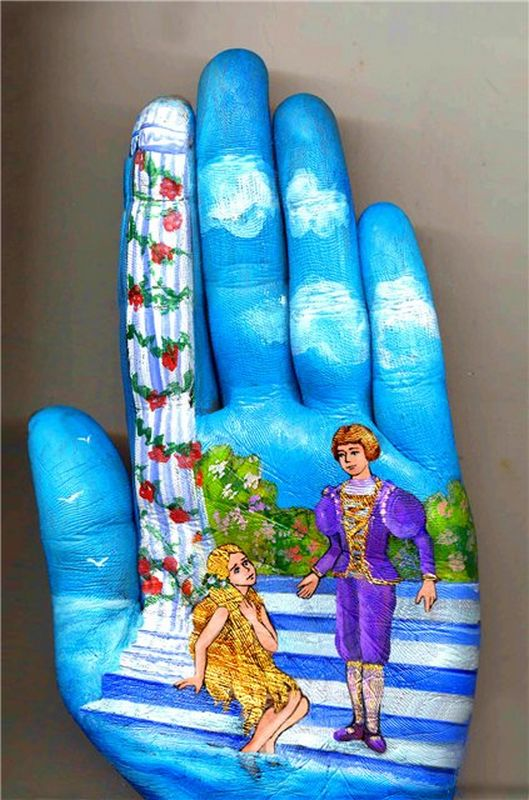 Paintings on Palm of a Hand,