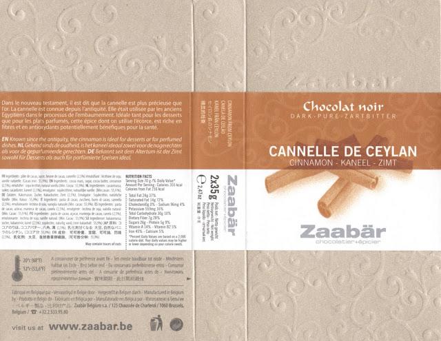 tablette de chocolat noir gourmand zaabär noir cannelle de ceylan