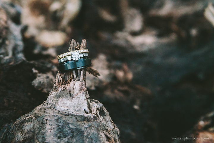 """mixed metals wedding and engagement ring"""