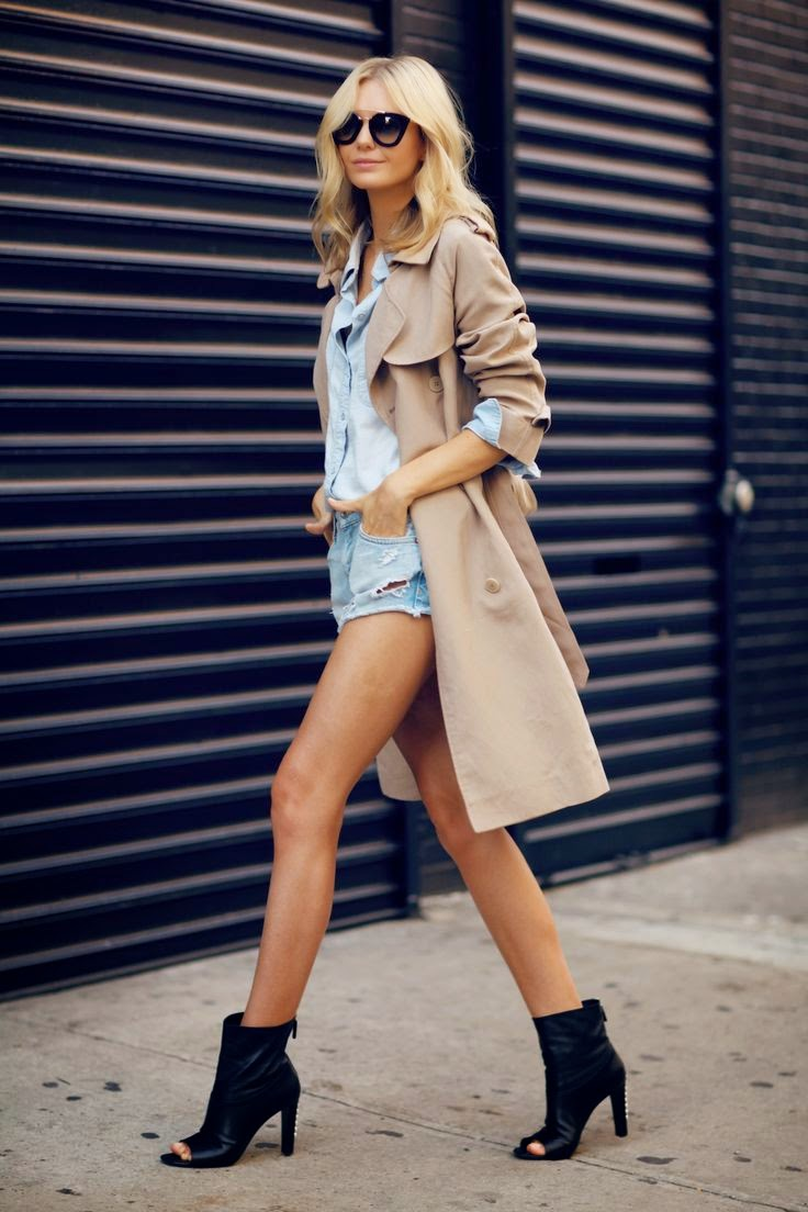 Zara - Conjunto trench coat, calções e camisa de ganga, e sandálias