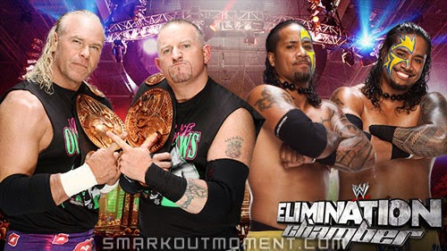 WWE Elimination Chamber 2014 PPV Match Results Tag Team Championship The Usos vs New Age Outlaws
