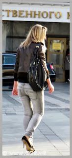 Girl wearing black leather jacket
